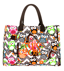 Chevron Owl Party Wide Tote Bag with Brown Trim #GQL581-BROWN