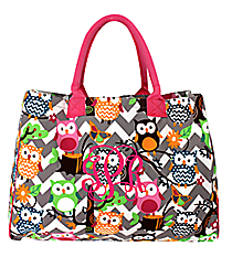 Chevron Owl Party Wide Tote Bag with Hot Pink Trim #GQL581-H/PINK