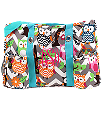 Chevron Owl Party Utility Tote with Aqua Trim #GQL585-AQUA