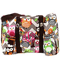 Chevron Owl Party Utility Tote with Brown Trim #GQL585-BROWN