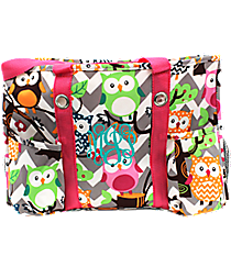Chevron Owl Party Utility Tote with Hot Pink Trim #GQL585-H/PINK