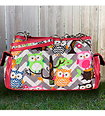 Gray Chevron Owl Party Quilted Satchel with Hot Pink Trim #GQL977-HPINK