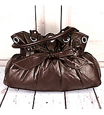 SALE! Brown Faux Leather Cinched Handbag with Bow #H-3413-BROWN