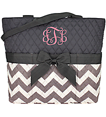 Gray Chevron Quilted Diaper Bag with Gray Trim #ZIG2121-GRAY