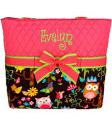 Quilted Owl Give a Hoot Diaper Bag With Hot Pink #WQL2121-HPINK