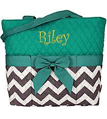 Gray Chevron Quilted Diaper Bag with Aqua Trim #ZIG2121-AQUA