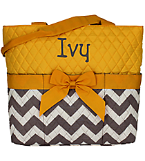 Gray Chevron Quilted Diaper Bag with Yellow Trim #ZIG2121-YELLOW