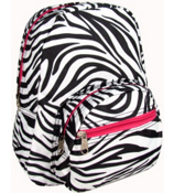 Zebra with Pink Trim Small Backpack #B5-2006-P