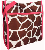 GIRAFFE PRINT WITH PINK TRIM SHOPPER TOTE #SH13-909-P