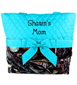 BNB Natural Camo Quilted Diaper Bag with Turquoise Trim #SNQ2121-TURQ
