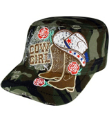 Camouflage Bling Cowgirl Distressed Cadet Cap #T21COW02-CAM