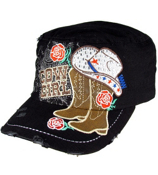 Black Bling Cowgirl Distressed Cadet Cap #T21COW02-BLK