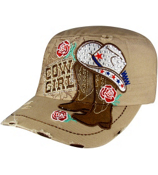 Khaki Bling Cowgirl Distressed Cadet Cap #T21COW02-KHK