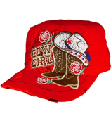 Red Bling Cowgirl Distressed Cadet Cap #T21COW02-RED