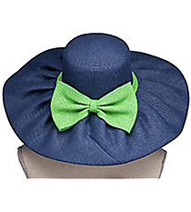 Navy and Lime Wide Brim Floppy Sun Hat #HAT-LMNV