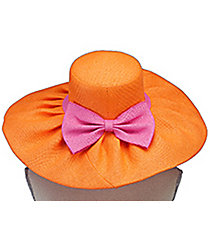 Orange and Pink Wide Brim Floppy Sun Hat #HAT-ORPK