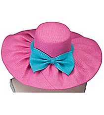 Pink and Turquoise Wide Brim Floppy Sun Hat #HAT-PKTQ