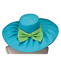 Turquoise and Lime Wide Brim Floppy Sun Hat #HAT-TQLM