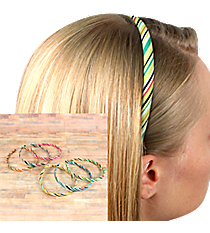 One Set of 3 Multi-Color Candy Stripe Headbands #HBR8608-SHIPS ASSORTED