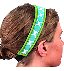 Turquoise and White Geometric Print with Lime Headband #HB-TQLM