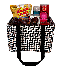 Houndstooth and Black Collapsible Square Utility Tote #HE402-BLACK