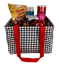 Houndstooth and Red Collapsible Square Utility Tote #HE402-RED