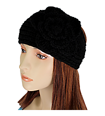 Black Knit Headwrap with Flower Accent #HB1713-BLACK