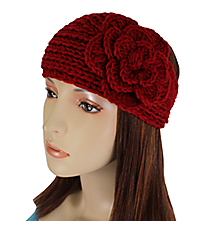 Red Knit Headwrap with Flower Accent #HB1713-RED