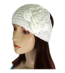 White Knit Headwrap with Flower Accent #HB1713-WHITE