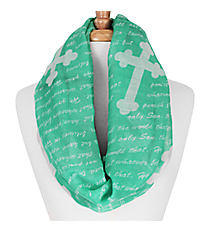 Emerald Green and White John 3:16 Cross Infinity Scarf #IF0027-E