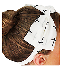 White Cross Bow Headband #IH0007-W