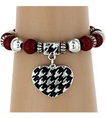 Houndstooth Heart Stretch Bracelet #UB9677-RED