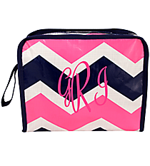 Pink and Navy Hi Tide Head Shot Cosmetic Bag #HI-HS-000100