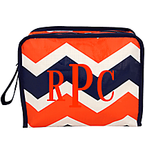 Orange and Navy Hi Tide Head Shot Cosmetic Bag #HI-HS-000155