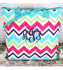Multi-Chevron Quilted Shoulder Bag with Aqua Trim #HJQ1515-AQUA