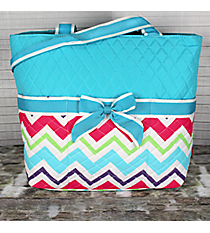 Multi-Chevron Quilted Diaper Bag with Aqua Trim #HJQ2121-AQUA