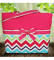 Multi-Chevron Quilted Diaper Bag with Hot Pink Trim #HJQ2121-H/PINK