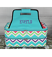 Multi-Chevron Insulated Double Casserole Tote with Aqua Trim #HJQ391-AQUA