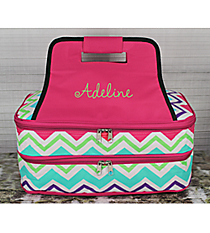 Multi-Chevron Insulated Double Casserole Tote with Hot Pink Trim #HJQ391-H/PINK