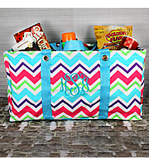 Multi-Chevron Collapsible Haul-It-All Utility Basket with Aqua Trim  #HJQ401-AQUA