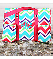 Multi-Chevron Utility Tote with Hot Pink Trim #HJQ585-H/PINK
