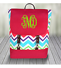 Multi-Chevron Backpack with Hot Pink Trim #HJQ650-H/PINK