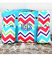 Multi-Chevron Utility Tote with Aqua Trim #HJQ585-AQUA