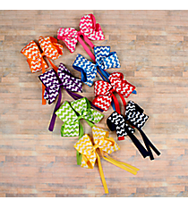 One White Chevron Hair Clippy with Streamers #HL1543A-SHIPS ASSORTED