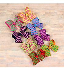 One Two-Color Chevron Hair Clippy with Knot #HL1544A-SHIPS ASSORTED
