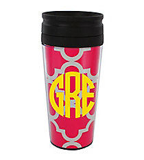 Hot Pink Moroccan 14 oz. Travel Tumbler with Black Lid #WLCM338PP-CL-U