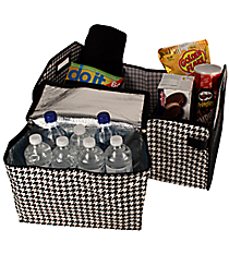 Houndstooth and Black Utility Storage Tote with Insulated Bag #HE516-BLACK