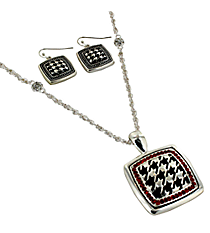 "18"" Red Crystal Accented Houndstooth Square Pendant Necklace and Earring Set #AS4769-ASR"