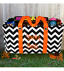 Black Chevron with Orange Trim Collapsible Haul-It-All Utility Basket #HWO401-ORANGE