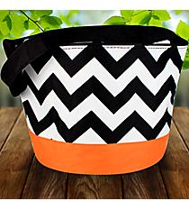 Black Chevron with Orange Trim Bucket Tote #HWO673-ORANGE